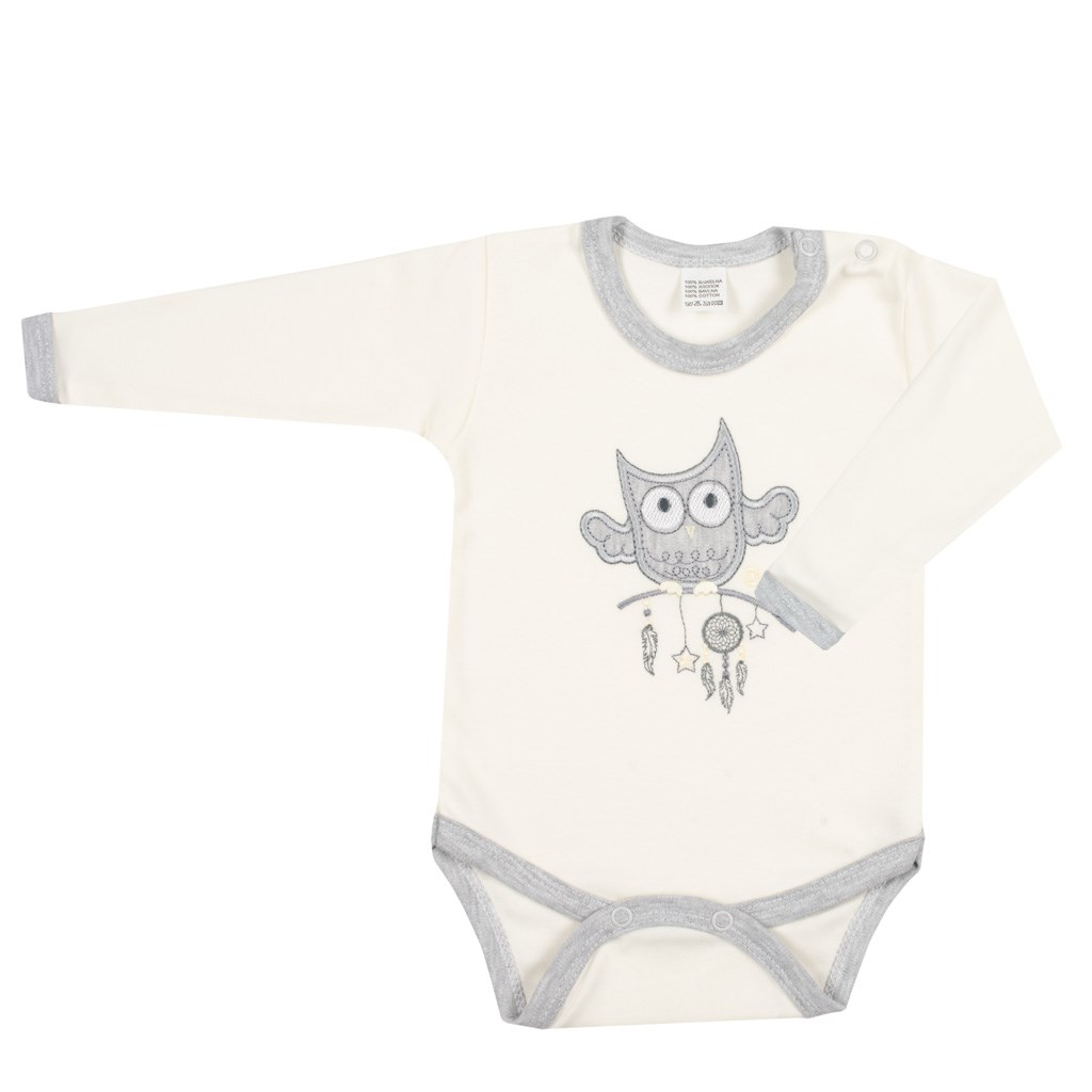 NEW BABY - Baba body New Baby Owl bézs 56 (0-3 h)